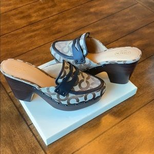 Coach signature clogs with wood heel